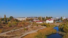 Meer van de hoogte in de stad Uzhgorod stock video