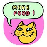 Meer voedsel! Beeldverhaal Cat Head De Bel van de toespraak Vector illustratie Stock Foto's