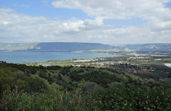 Meer von Galiläa, Golan Heights Stockbild