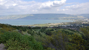 Meer von Galiläa, Golan Heights, Israel Stockfotografie