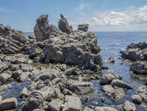 Meerblick Acitrezza Sizilien Stockfotografie