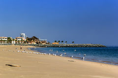 meerblick Ansicht des sandigen Strandes lizenzfreie stockfotografie