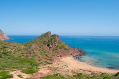 Meerblick der Pilar Bucht von Baleareninsel stockbild