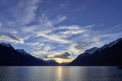 Meerblick die Schweiz Bern Brienz Evening Mood stockfotografie