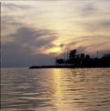 Meerblick die Schweiz Waadt Cully Sunset Harbor Water Reflections stockfotografie