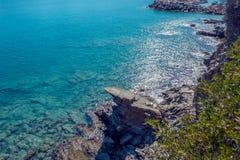 meerblick Griechenland Ruhiger See im Sonnenschein Lizenzfreies Stockbild