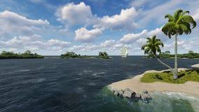Meerblick mit Segelboot Lizenzfreies Stockfoto
