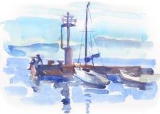 Meerblick mit Stiefeln, Pier und Mann in der Aquarell stylein Aquarellart in der Aquarellart stock abbildung