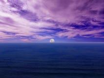 Meerblick Moonrise Lizenzfreie Stockfotos