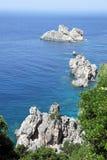 Meerblick nahe Paleokastritsa. Korfu-Insel, Griechenland stockfotografie
