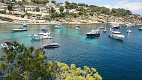 Meerblick-Portale Vells-Strand Mallorca stockfotografie