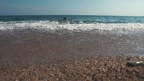 Meerblick am Sommertag, Ansicht vom Boden von Pebble Beach, menschlich schwimmt stock video footage