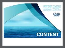 Meerblick und Darstellungsplan des blauen Himmels entwerfen Schablonenhintergrund für Tourismusreiseveranstalter Abbildung Lizenzfreie Stockfotografie