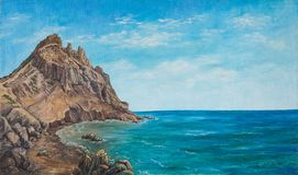 Meerblick und Strand Ursprüngliches Ölgemälde auf Segeltuch stockbild