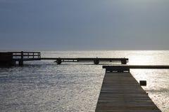 Meerblick vom Dock in Willemstad stockbilder