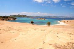 Meerblickansicht von Pena-Insel, Halkidiki, Griechenland Stockfotografie