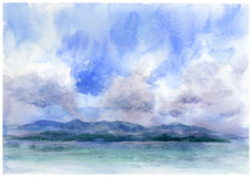 Meerblickaquarellmalerei Stock Abbildung
