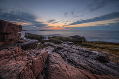 Meerblicksonnenaufgang im Acadia-Nationalpark Stockfotografie