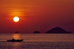 Meerblicksonnenuntergang Palawan Philippinen Lizenzfreie Stockbilder