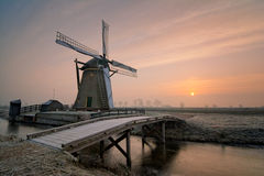 Meerburger windmill. The Meerburgermolen during a wintery sunrise Stock Photos