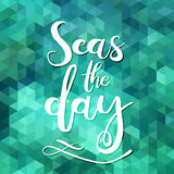 Meere der Tag Einzigartiges Typografieplakat- oder -kleiderdesign Handdrawn Beschriftung einer Phrase über Wanderlust, Reise, Mee stock abbildung