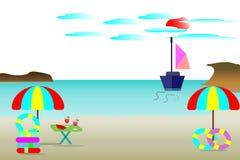 Meeres-Strandvektorillustration, schöne Meeresinsel - Sommerreisekonzept Stockfotos