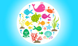 Meeresflora und -fauna stock abbildung