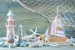 Meeresflora und -fauna-Dekoration stockfotos