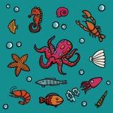 Meeresflora und -fauna in der Karikaturart auf einem blauen Hintergrund Hummer, Garnelen, Schnecken, Seekohl usw. Lizenzfreie Stockfotos