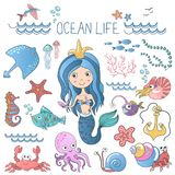 Meeresflora und -fauna-Illustrationen eingestellt Wenig nette Karikaturmeerjungfrau-Prinzessinsirene mit Seeozeanfischen und -and vektor abbildung