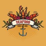 Meeresfrüchte in der Karikaturart Restaurantlogo mit Hummer, Garnelenschnecken, Seekohl und Anker Stockbilder