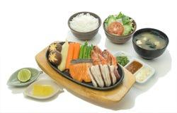 Meeresfrüchte-Kombinations-Steak-Satz Lizenzfreies Stockbild
