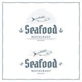 Meeresfrüchte-Logo Stockfoto