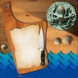 Meeresfrüchte - Menü-Schablone Stockfotografie