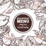 Meeresfrüchte-Skizzen-Menü Lizenzfreies Stockbild