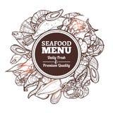Meeresfrüchte-Skizzen-Menü Stockfotos