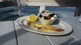 Meeresfrüchte - Sohle und Salat stockbild