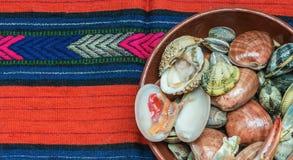 Meeresfrüchte und Oberteile Stockfotos