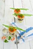 Meeresfrüchte verrine Draufsicht Stockfoto