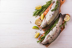 Meeresfrüchte Zwei rohe Regenbogenforellen mariniert mit Kalk, Rosmarin lizenzfreies stockfoto