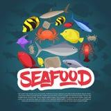 Meeresfrüchtebühnenbildplattfisch, -krabbe und -hummer Auch im corel abgehobenen Betrag stockbild