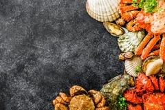 Meeresfrüchtehintergrund mit köstlichem Lebensmittel Lizenzfreies Stockbild