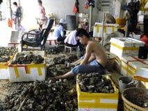 Meeresfrüchtemarkt, Fischer im Abstreifen des Austernoberteils Lizenzfreie Stockfotos