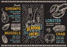 Meeresfrüchtemenü-Lebensmittelschablone für Restaurant mit dem Gekritzel von Hand gezeichnet Lizenzfreie Abbildung