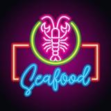Meeresfrüchterestaurant-Leuchtreklameplanke Vektor lizenzfreies stockfoto