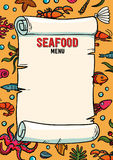 Meeresfrüchterestaurantmenü in der Karikaturart Restaurantmenühummer, Garnelenschnecken, Seekohl und Anker Von Hand gezeichnet Lizenzfreie Stockbilder