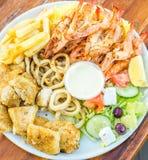Meeresfrüchteservierplatten-Restaurantbild Stockfotos