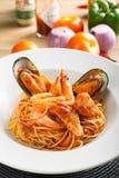 Meeresfrüchtespaghettis lizenzfreies stockfoto