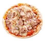 Meeresfrüchtepizza mit Thunfisch und Mozzarella Lizenzfreie Stockfotos
