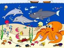 Meeresgrund mit Meerestieren Vektor für Kinder, Karikatur Stockfotos